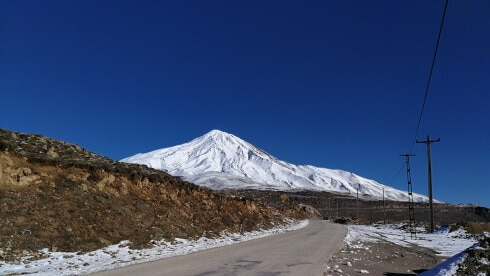 Damavand South Face in winter from Polour-Rineh Road