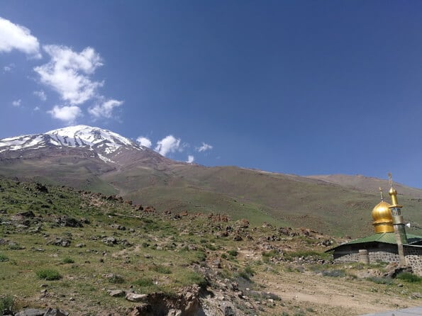 Damavand and the Mosque from Goosfandsara basecamp (3000m)