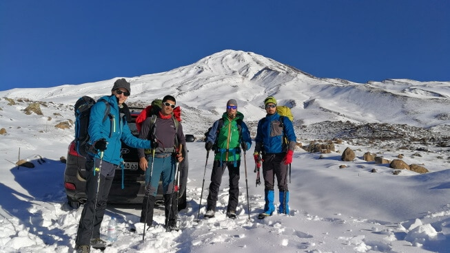 On the way to Goosfandsara basecamp in winter, Mount Damavand