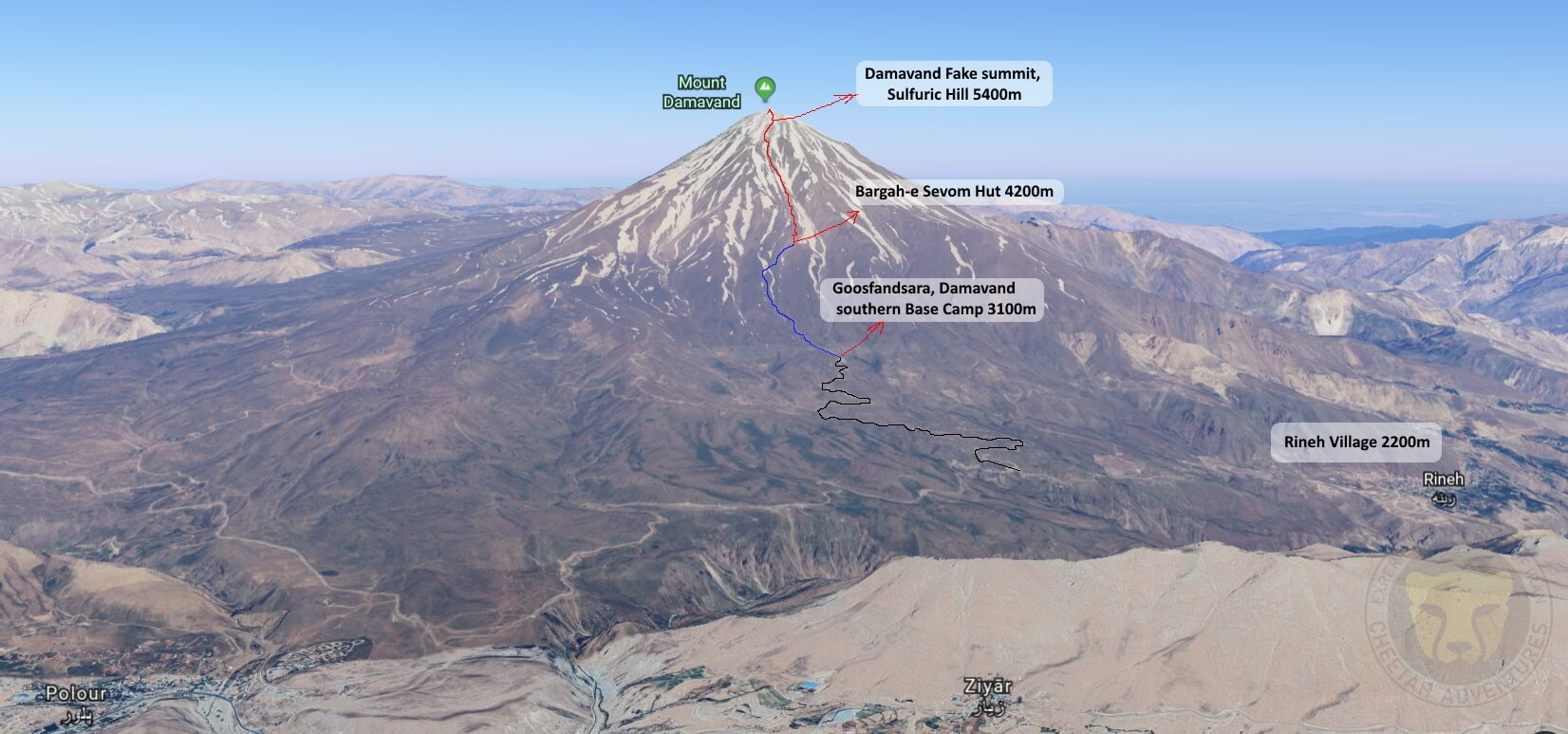 damavand trip map from south ridge path rineh goosfandsara bargah e sevom hut fake summit
