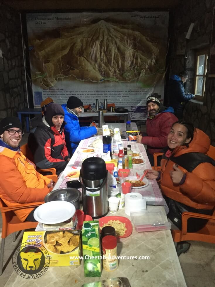 4-Having dinner in Bargah-e Sevom Hut, damavand south route