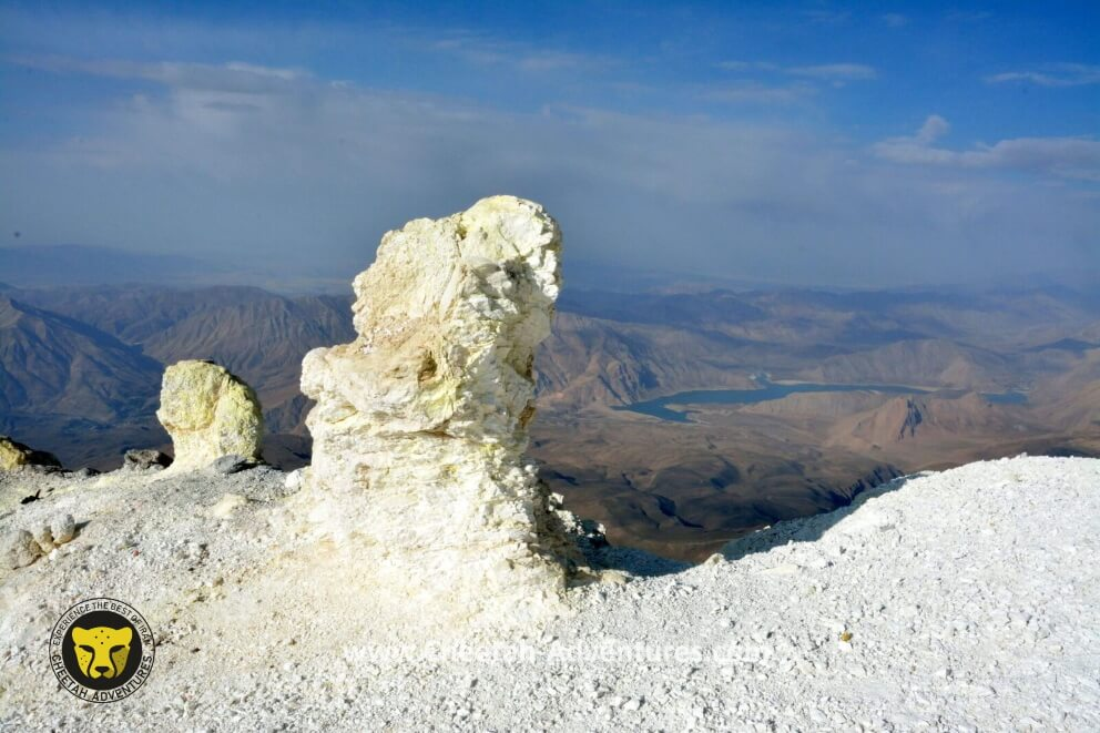 6-Sulfuric Rocks at the beggining of the sulfur hill (5350m), South face of Damavand
