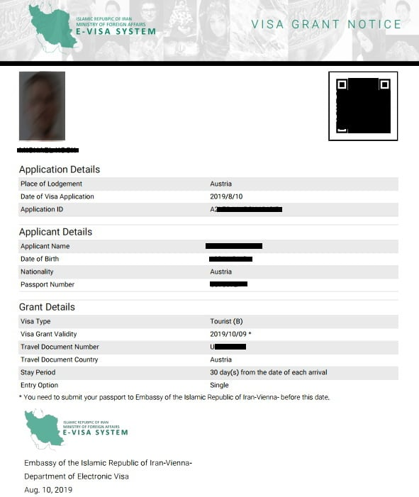 An example of iran Visa Grant Notice (after approval) application by cheetah adventures 2