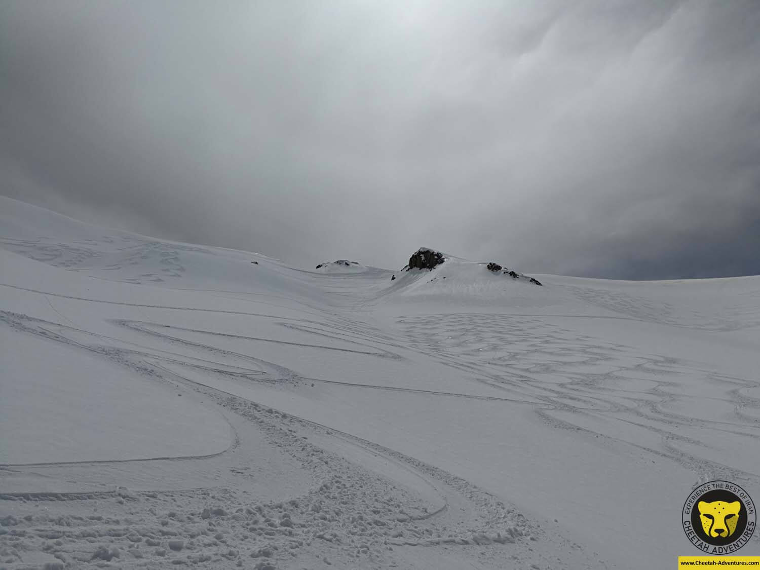 4 Skiing on powder on the way back from Doberar Peak, Damavand Ski touring
