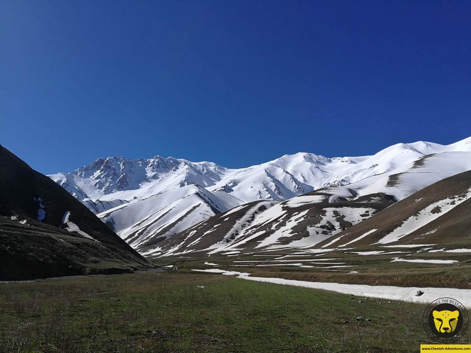 4 Walking to reach the snow field, Doberar Peak and mountain range from Lasem Village, Damavand Ski Touring