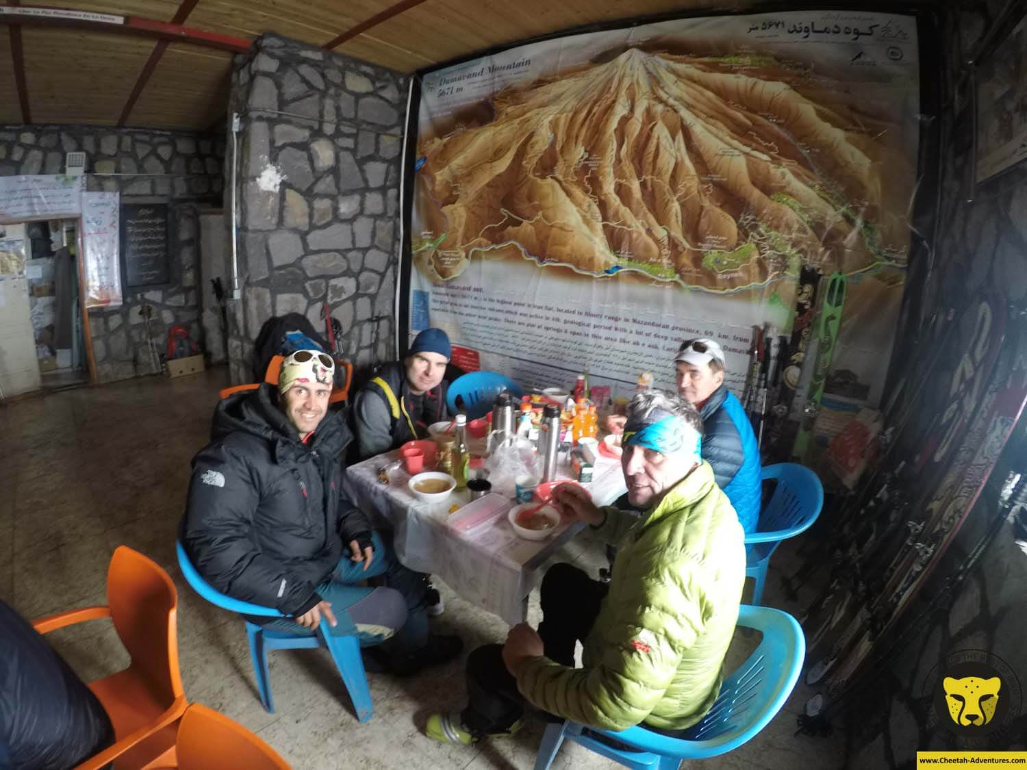 5-4 Having soups at Bargah-e Sevom Hut (4200m), Damavand Ski Touring
