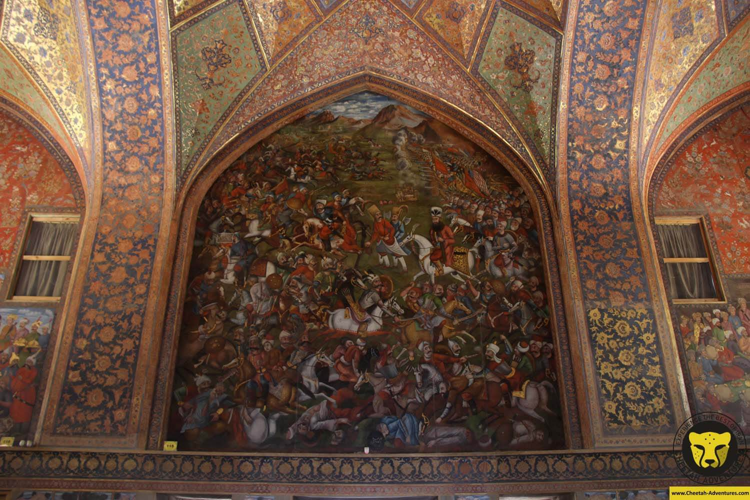 Painting on the walls of Chehel Sotun Palace, Isfahan, Iran Tour