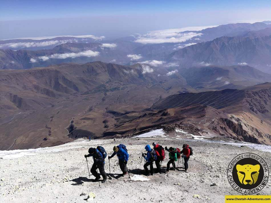 The last hundred meters to stand on the top of Damavand (5610m), North Eastern Route