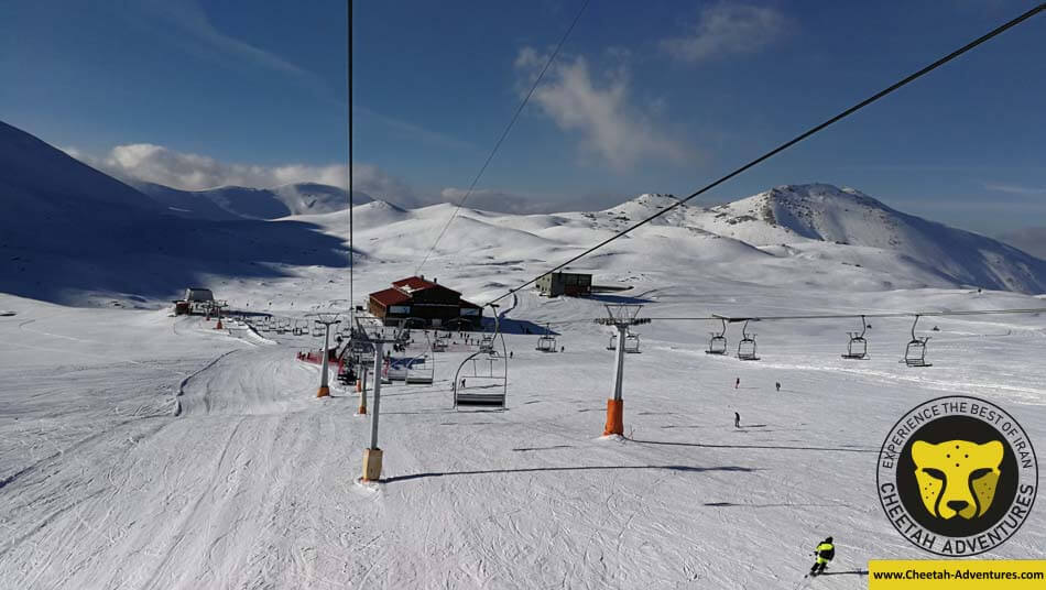 On the ski lifts, with a nice view of Tochal Hotel , Tochal Ski Resort