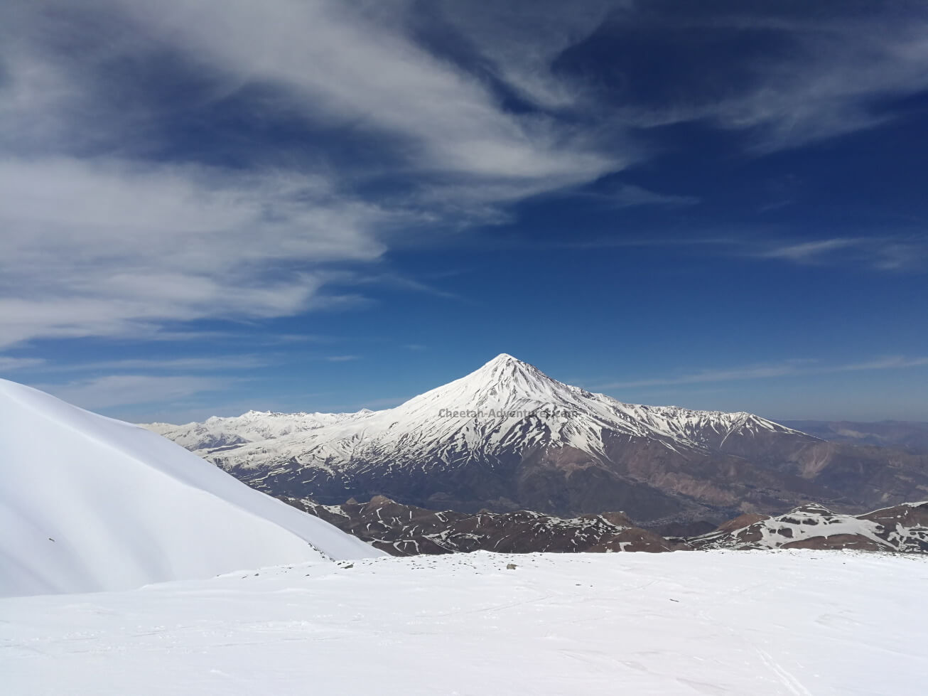 A brilliant view of Damavand (5610m) from the top of Doberar Peak (4250m) Mount Damavand Elevation height relative
