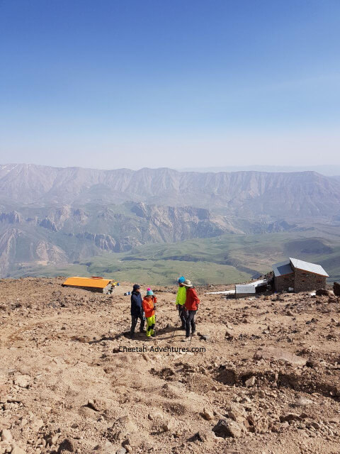 A view of Bargah-e Sevom hut (4200m), Dobarar Range at the background-Mount Damavand Difficulty climbing grade
