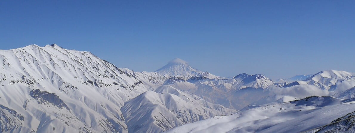 A view of Damavand (5610m) from distance Mount Damavand Elevation height relative