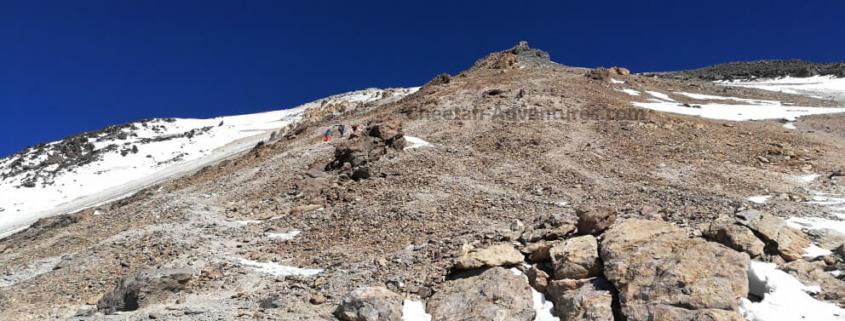 Mount Damavand Fake Summit or Triangle Shaped Rock at 5300m - Damavand Tour Trekking