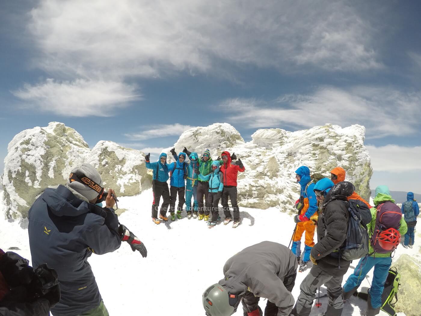 on top of Damavand Summit (5610m) mount Damavand elevation height
