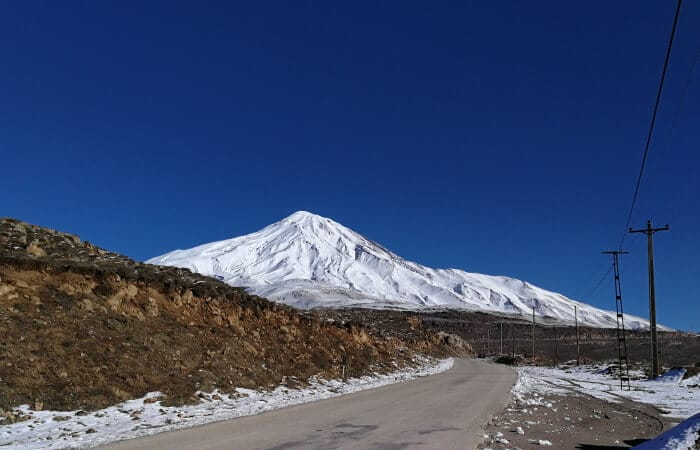 Mount Damavand mountain tour Damavand facts information Damavand South Face in winter from Polour-Rineh Road