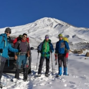 Mount Damavand mountain tour Damavand facts information On the way to Goosfandsara basecamp in winter, Mount Damavand