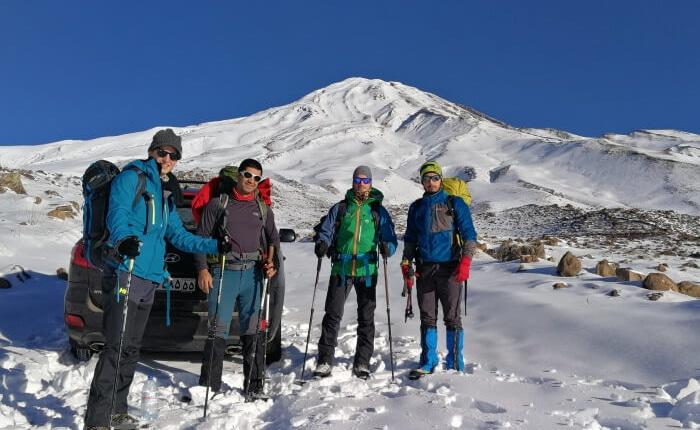 Mount Damavand mountain tour Damavand facts information On the way to Goosfandsara basecamp in winter, Mount Damavand