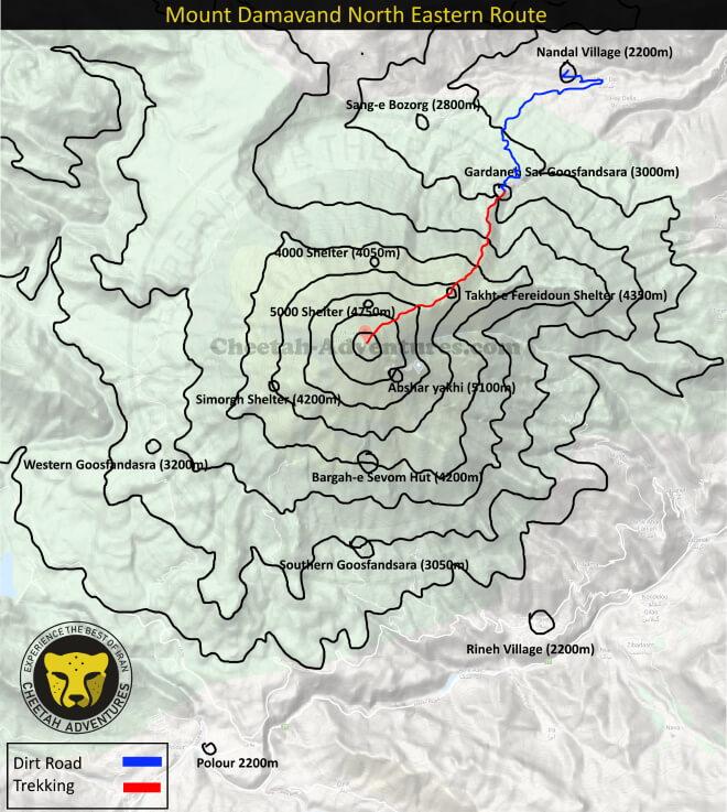 Mount Damavand Trekking Routes map- Damavand Mountain North Eastern Route