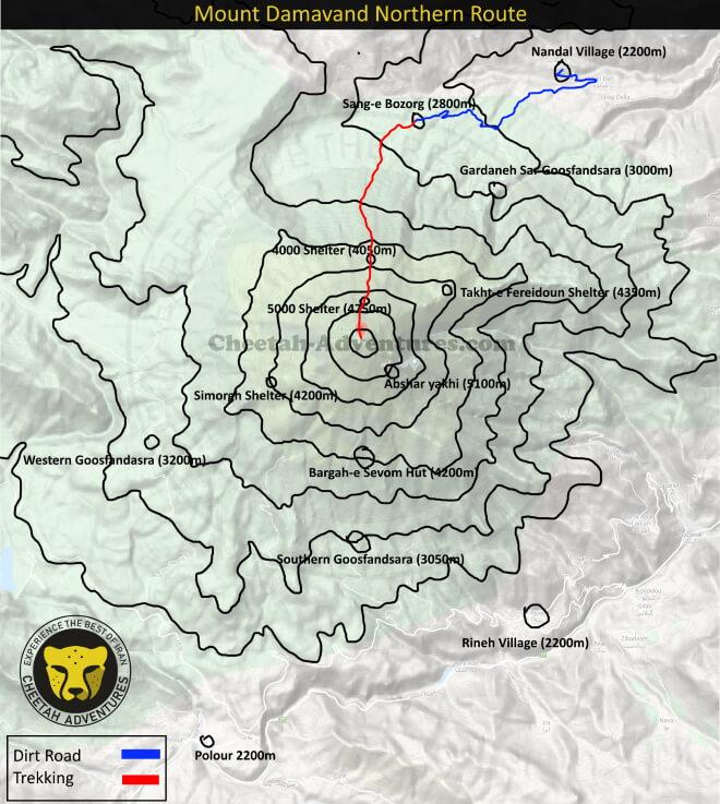 Mount Damavand Trekking Routes map- Damavand Mountain Northern Route