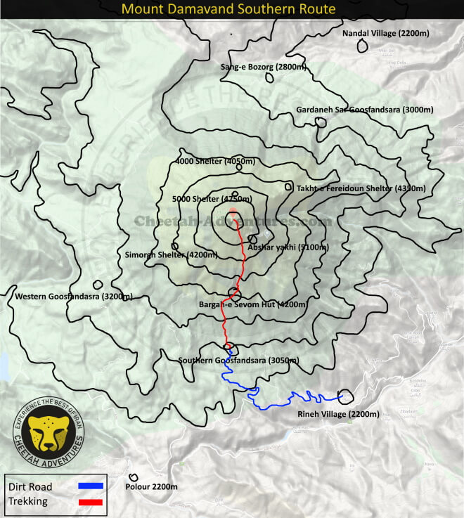 Mount Damavand Trekking Routes map- Damavand Mountain Southern Route