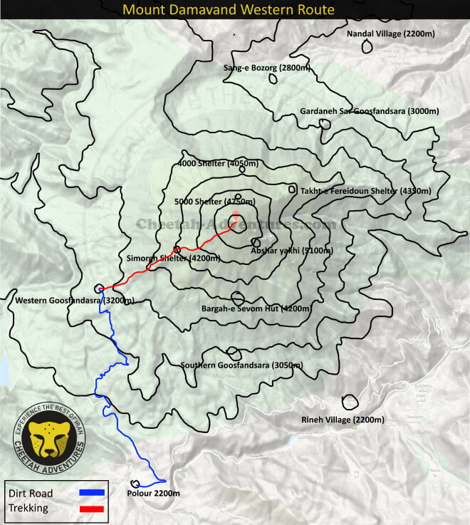 Mount Damavand Trekking Routes map- Damavand Mountain Western Route