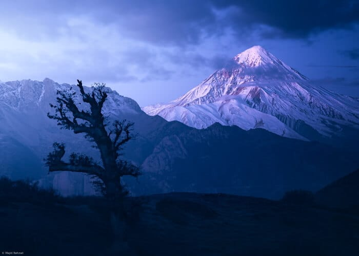 Mount-Damavand-in-Blue-Moments-by-Majid-Behzad-Damavand-tour-Trekking-package-climb-damavand-tours-guide