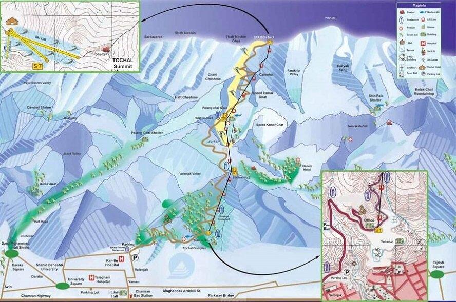 tochal ski resort map Mount Tochal tehran iran mountain trekking tour