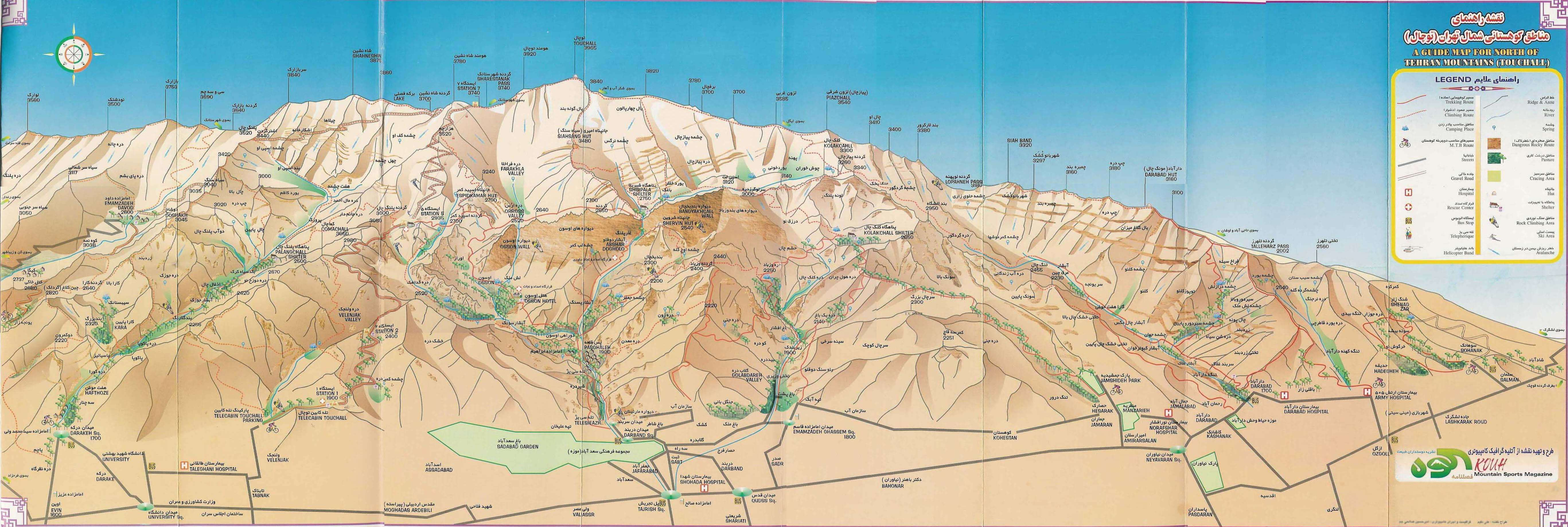 Tochal mountain map tehran iran mountain trekking tour iran travel guide attractions things to do destinations Cheetah adventures